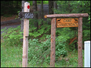 address sign for camp